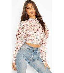 floral satin puff sleeve blouse, blush