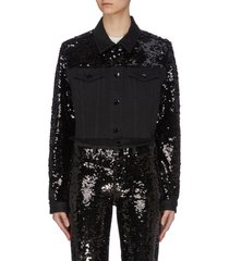 'cyra' sequin embellished cropped jacket