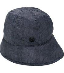 maison michel veronica denim-effect bucket hat - blue