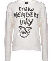 pinko scuderia white cashmere pullover