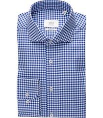 eterna overhemd blauw geruit modern fit