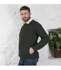 tweed shoulder merino crew neck sweater green medium