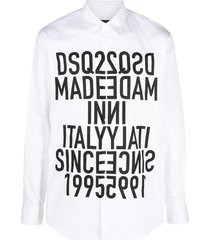 dsquared2 mirrored slogan print shirt - white