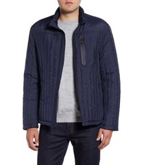 cole haan fleece lined quilted jacket, size x-large in navy at nordstrom