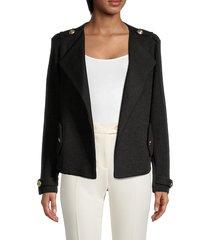 calvin klein women's text fly away jacket - black - size l