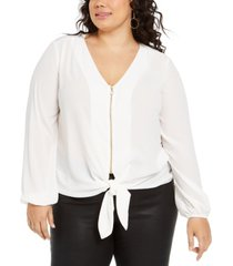 ny collection plus size pebble crepe tie-front top