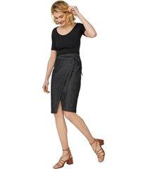 amaro feminino saia jeans midi com amarração, preto