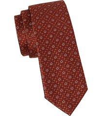 embroidered houndstooth silk tie