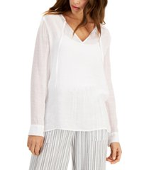 palette button-trimmed gauze blouse