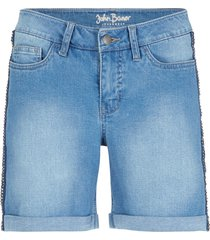 shorts di jeans elasticizzato morbido con borchiette (blu) - john baner jeanswear