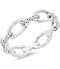 sterling forever women's sterling silver & crystal open chain link ring/size 8 - size 8