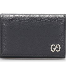 gucci leather card holder black sz: