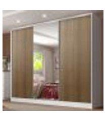guarda roupa casal 100% mdf madesa royale 3 portas de correr com espelho - branco/rustic