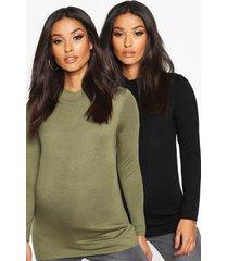 maternity 2 pack basic high neck top, khaki