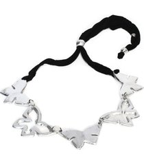 collar de mujer plateado lycra papillon noir by vestopazzo