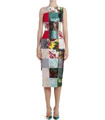 women's dolce & gabbana patchwork midi dress, size 10 us - blue