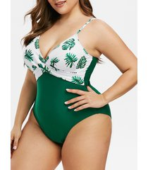 plus size leaves print twist lattice cut one-piece swimsuit