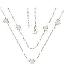 gargantilha prata mil com 5 corações 12mm liso prata