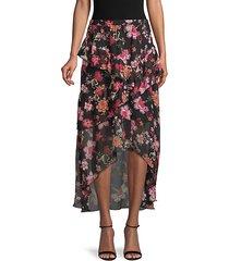 floral-print high-low skirt