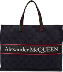 alexander mcqueen east west selvedge logo tote bag - blue