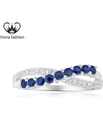 criss cross engagement ring round cut blue sapphire white gold plated 925 silver