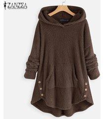 zanzea abrigos de lana con capucha de manga larga para mujer sudaderas con capucha sueltas ocasionales -café