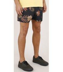 short masculino estampado de floral com bolsos preta