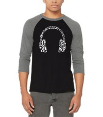men's music note headphones raglan baseball word art t-shirt