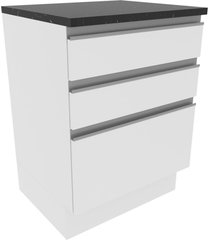 balcã£o madesa acordes 100% mdf 60 cm 3 gavetas - frentes branco brilho branco - branco - dafiti