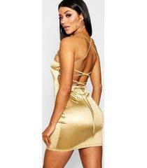 satijnen bodycon jurk met vierkante hals en rugbandjes, goud