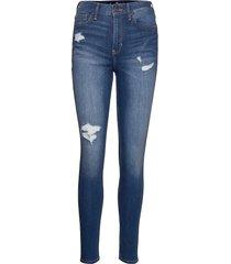high rise super skinny skinny jeans blå hollister