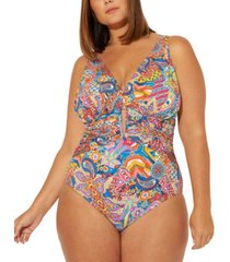 bleu by rod beattie plus size groovy baby printed keyhole one-piece swimsuit women's swimsuit