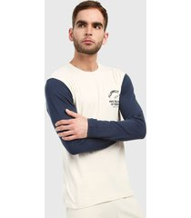 camiseta manga larga beige-azul alpinestars