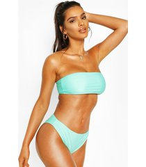 bandeau cheeky bum bikini, green