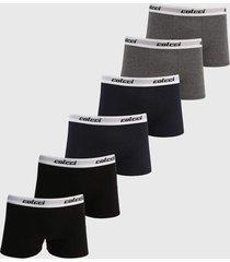 kit 6pçs cueca colcci boxer logo cinza/preto