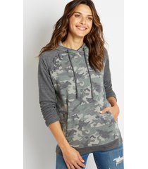 maurices womens camo lace up shoulder pullover hoodie green