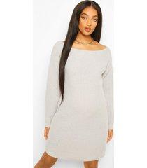zwangerschaps trui jurk met boothals, light grey