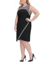 tommy hilfiger plus size metallic-trim asymmetrical sheath dress