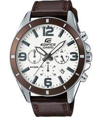 reloj casio efr_553l_7bv marrón cuero