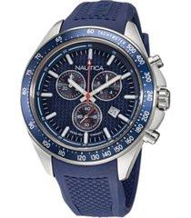 nautica men's analog blue silicone strap watch 46 mm