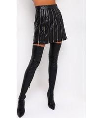 akira tiana pu zipper detail mini skirt