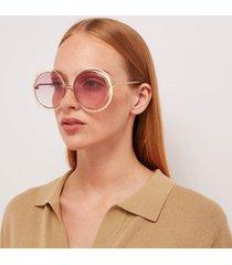 chloé women's carlina round sunglasses - gold/ivory