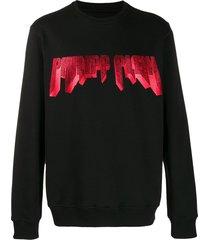 philipp plein rhinestone logo sweatshirt - black