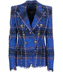 tartan tweed blazer with double-breasted gold-tone buttoned fastening