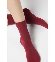 calzedonia short socks in cotton with cashmere woman red size 39-41