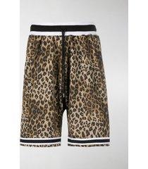 john elliott leopard-print mesh shorts