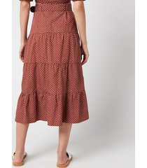 faithful the brand women's farida midi skirt - bonnie dot print - l