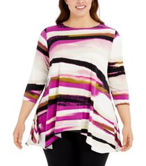 alfani plus size printed asymmetric top, created for macy's