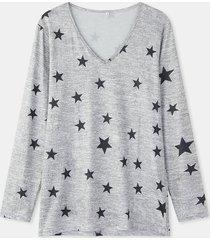 camicetta casual da donna a maniche lunghe con scollo a v con stampa stelle