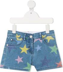 stella mccartney kids demin shorts with stars print